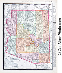 Antique Vintage Color Map of Arizona, USA