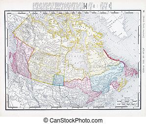 Antique Vintage Color Map of Canada