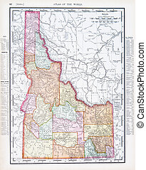Antique Vintage Color Map of Idaho, USA