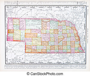 Antique Vintage Color Map of Nebraska, NB USA