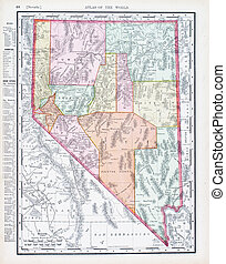 Antique Vintage Color Map of Nevada, USA