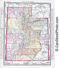 Antique Vintage Color Map of Utah, USA