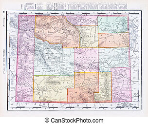 Antique Vintage Color Map of Wyoming, USA