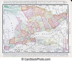 Antique Vintage Color Map Ontario Province, Canada
