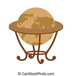 Antique vintage globe on stand. Vintage school globe. Model ball Earth