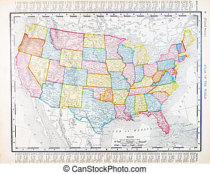 Antique Vintage Map United States America, USA - Color map...