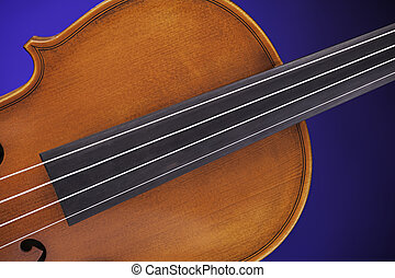 Antique violin Isolated On Blue