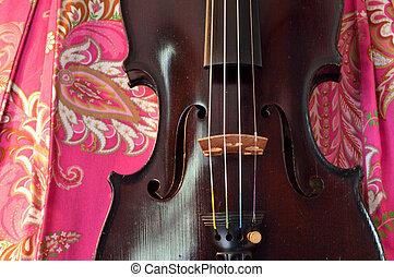 Antique violin on pretty background