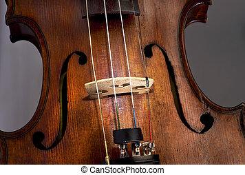 Antique Violin - Closeup of violin F- holes and strings.