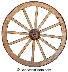 Antique Wagon Wheel on White Background