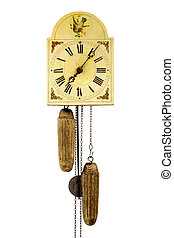 Antique wall clock isolated on white background with iron pendular