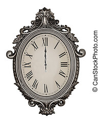 Antique wall clock isolated. - Twelve hours or zero hours....