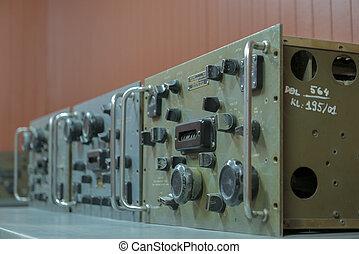 Antique War radio transmitter in bunker