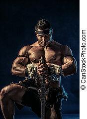 antique warrior - Portrait of a handsome muscular ancient...