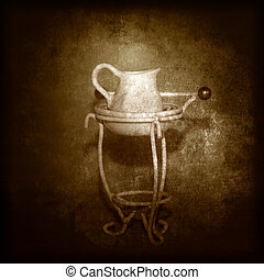 Antique wash basin and water jug on vintage sepia grunge...