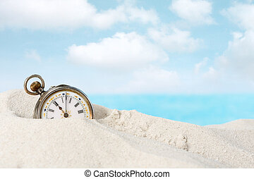 Antique watch in the sand