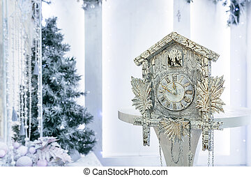 Antique watches and Christmas tree