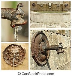 antique water sources collection, images from Italy