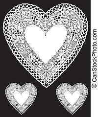 Antique White Lace Heart Doilies - Vintage heart shaped...