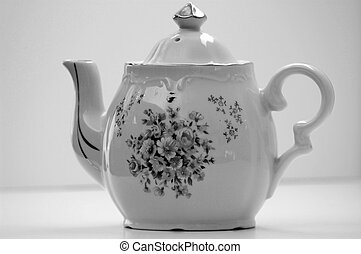 Antique White Teapot With Gold Top Black and White Photo -...