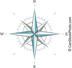 Antique wind rose symbol for navigation isolated on white ...