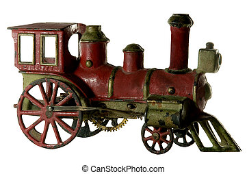 ANTIQUE WIND-UP IRON TRAIN - old antique wind-up iron toy ...