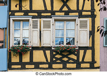 antique windows with shutters