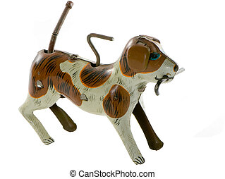 ANTIQUE WINDUP TIN DOG - antique toy-dog with stick in his...