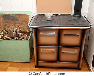 wood burning stove in a kitchen of a lovely mountain home 1