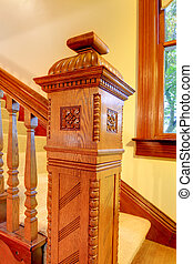 Antique Wood carved staircase railing details.