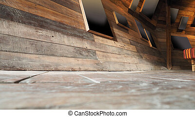 Antique Wood wall and floor Blur Background