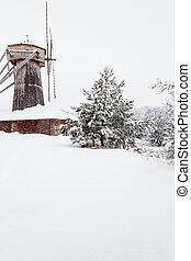 Antique wood windmill