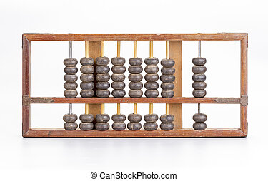 Antique wooden abacus on white