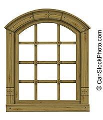 Antique wooden arched window fantasy scandinavian gothic