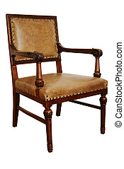 antique wooden armchair on the white background