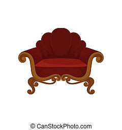 Antique wooden armchair with red velvet upholstery. Soft chair. Classic furniture for living room. Flat vector icon