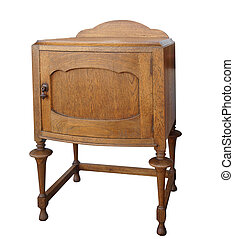 Antique Wooden Cabinet isolated with clipping path.