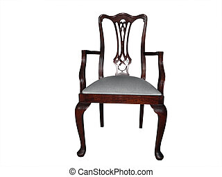 Chair wooden carver style with cabriole legs and white padded seat
