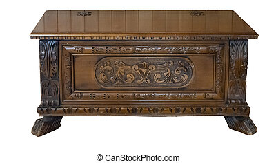 Antique Wooden Chest in  the Neo Gotic Style Old Castle Medieval Isolated on White Background