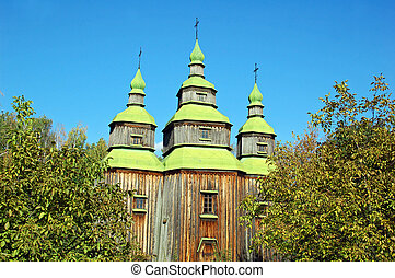 Antique wooden church at ethnographic museum Pirogovo,  Kiev, Ukraine