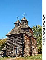 Antique wooden church at ethnographic museum Pirogovo,  Kiev, Ukraine