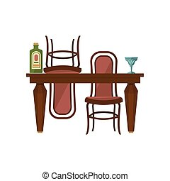 Antique Wooden Dining Table And Chairs
