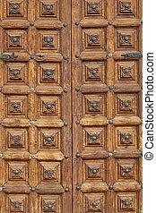Antique Wooden Closed Door Background