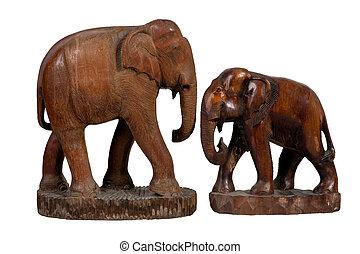 Antique wooden elephant