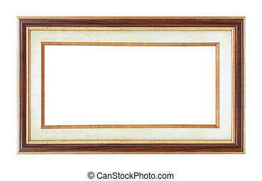 antique wooden frame isolated on a white background