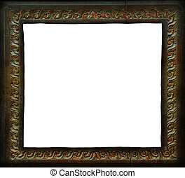 Antique wooden photo frame, clipping path.