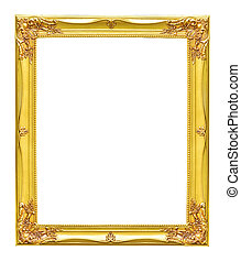 Antique wooden picture frame isolated on white with clipping path.