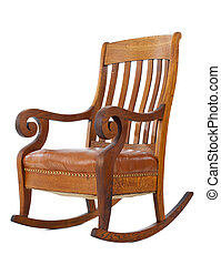 rocking chair - Antique wooden rocking chair isolated on...