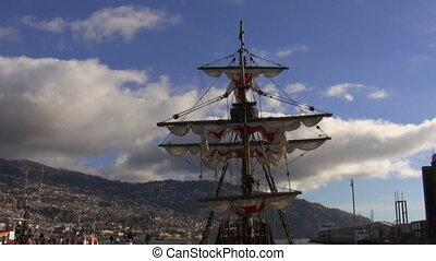 Antique wooden sailing ship - Old wooden sailing ship docked...