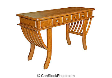 Antique wooden table isolated